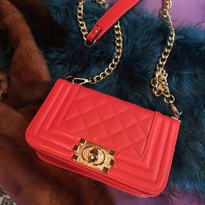 Red Quilted Purse With Chain Strap